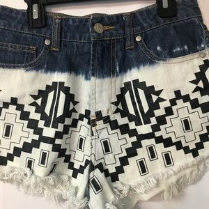 MINKPINK Shorts - MINKPINK Aztec DipDye High Waisted denim cutoffs